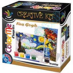 Kreatív Festő szett, Van Gogh - Csilagos éjszaka, Virágok kék vázában
