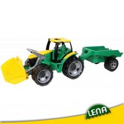 Játék traktor utánfutóval és homlokrakodóval