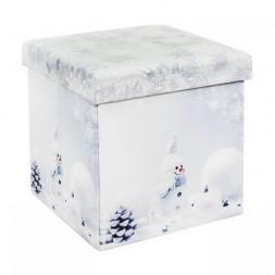 Tárolós összecsukható ülőke, hóember mintával