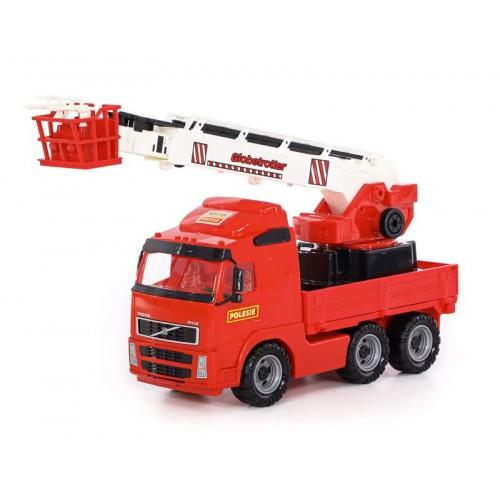 VOLVO tűzoltóautó, játék munkagép 60 cm