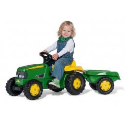 John Deere pedálos traktor utánfutóval