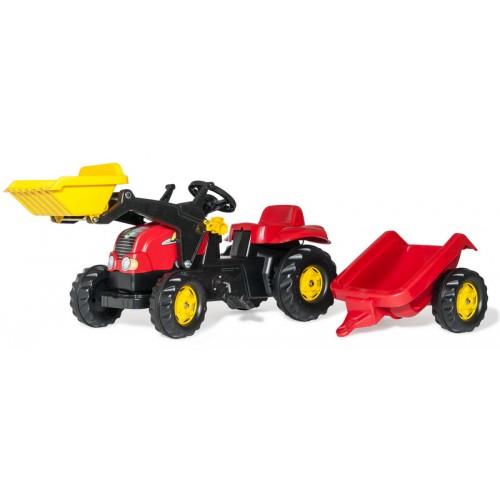 Pedálos traktor markolóval és utánfutóval