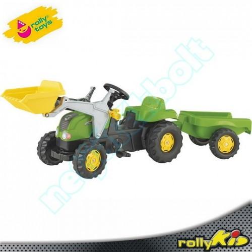 Pedálos traktor utánfutóval és markolóval