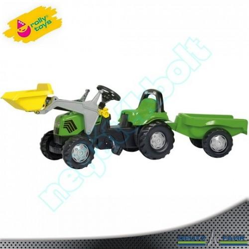 Pedálos Deutz traktor markolóval, utánfutóval