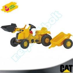 CAT pedálos markoló traktor utánfutóval