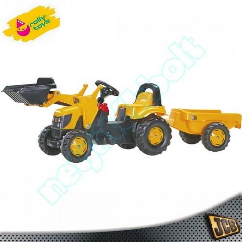 JCB pedálos markoló traktor utánfutóval