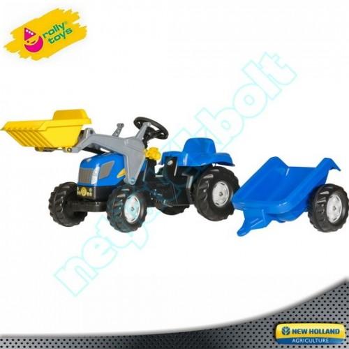 Pedálos traktor markolóval és utánfutóval New Holland