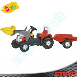 Steyr pedálos markolós traktor utánfutóval